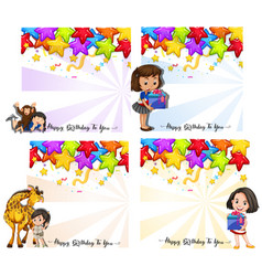 set birthday card vector image