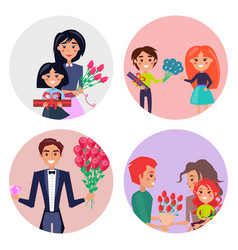 Set of four icons with gifts and flowers for girls vector