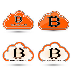 set of simple icons of a cloud with a bitcoin vector image