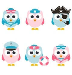 Set sailor owls isolated on white vector