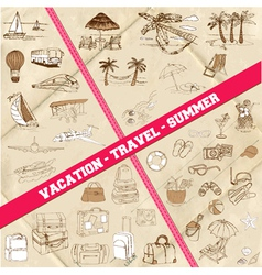 set travel summer and vacation theme vector image