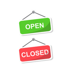 signs with the inscription open and closed vector image