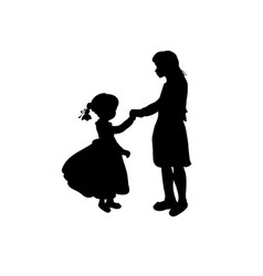 silhouette family girl with sister vector image