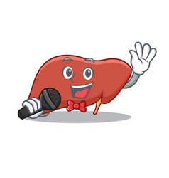 Singing liver character cartoon style vector