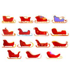 Sleigh icons set cartoon style vector