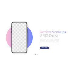 smartphone blank screen phone mockup template vector image