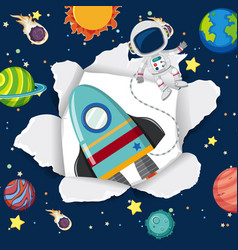 Space theme background with spaceship flying in vector