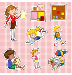 sticker set with students and teacher vector image vector image