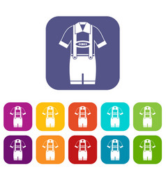 T-shirt and pants with suspenders icons set vector