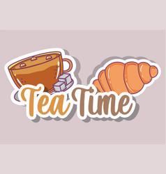 tea time sketch flat design vector image