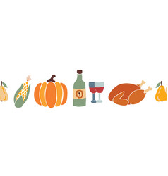 Thanksgiving dinner food seamless border vector