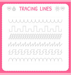 Trace line worksheet for kids trace pattern vector