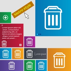 trash icon sign buttons Modern interface website vector image