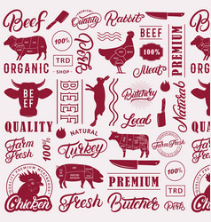 Typographic butchery seamless pattern background vector