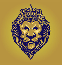 Vintage gold lion king with ornament crown vector