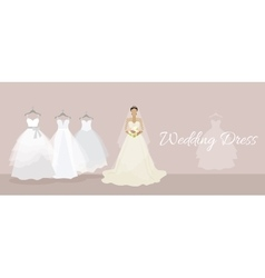 Wedding dress design flat style vector