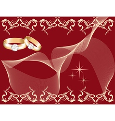 wedding theme with golden rings vector image