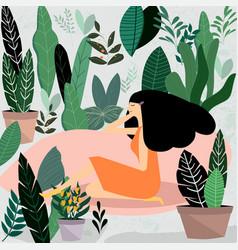 Woman and her flower garden vector