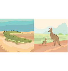 Adult kangaroo with baby and vector