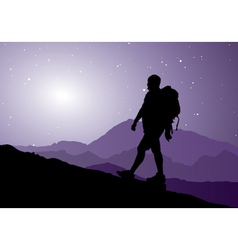 backpacker going up the mountain vector image