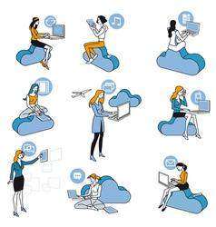 Cloud Computing Blue Girls Set vector image