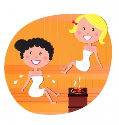 cute woman friends in sauna vector image
