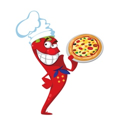 pepper cook with pizza vector image