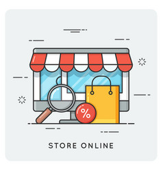 store online flat line art style concept vector image vector image