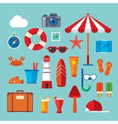 summer and travel flat icon vector image vector image