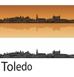 Toledo skyline in orange background in editable vector image