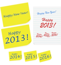 Happy New Year notes vector image vector image