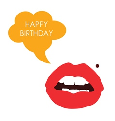 lips happy birthday color vector image vector image