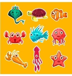 Many species of fish and marine animal life vector image vector image