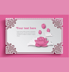 oriental frame with pink lotus flower vector image vector image