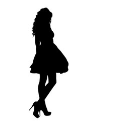 beautiful fashion girl silhouette on a white vector image vector image