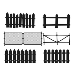 Rural wooden fences pickets silhouettes vector image