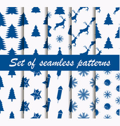 set of christmas seamless patterns with fir-trees vector image vector image