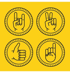 set of outline icons on circle badges vector image
