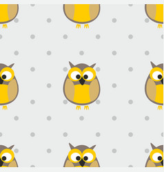 tile pattern with polka dots and owls on grey vector image vector image