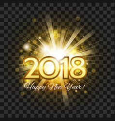 beautiful golden fireworks happy new year 2018 vector image vector image