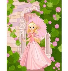 Beautiful princess at summer day vector