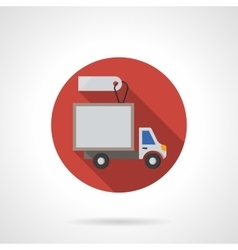 Delivery truck sale round flat color icon vector image