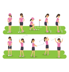 Golf players golf sport athletes in actions vector image