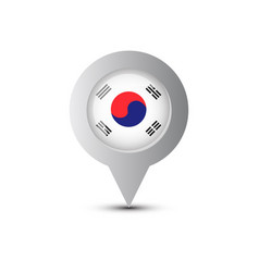 map pointer with south korea flag and shadow vector image