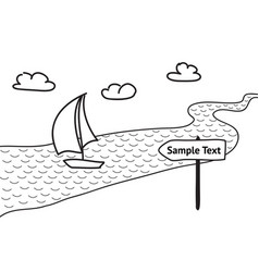 sailboat floats on the river sketch vector image