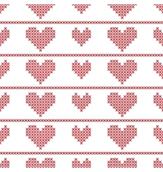 Seamless pattern with embroided hearts on white vector image vector image