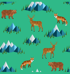 wild animals and mountains vector image