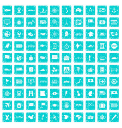 100 cartography icons set grunge blue vector image