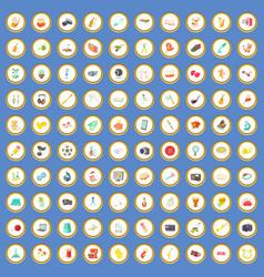 100 hobby icons set cartoon vector image