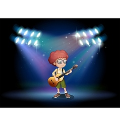 A talented teenager in the middle of the stage vector image